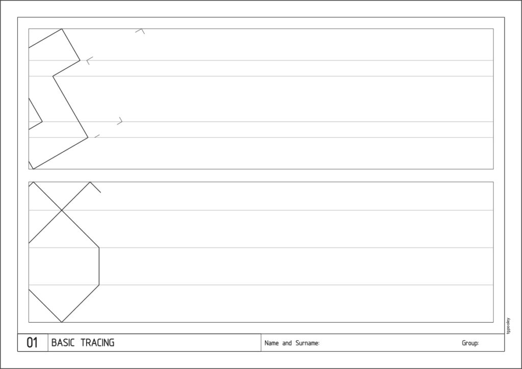 Example worksheet for 1st of ESO Technical Drawing