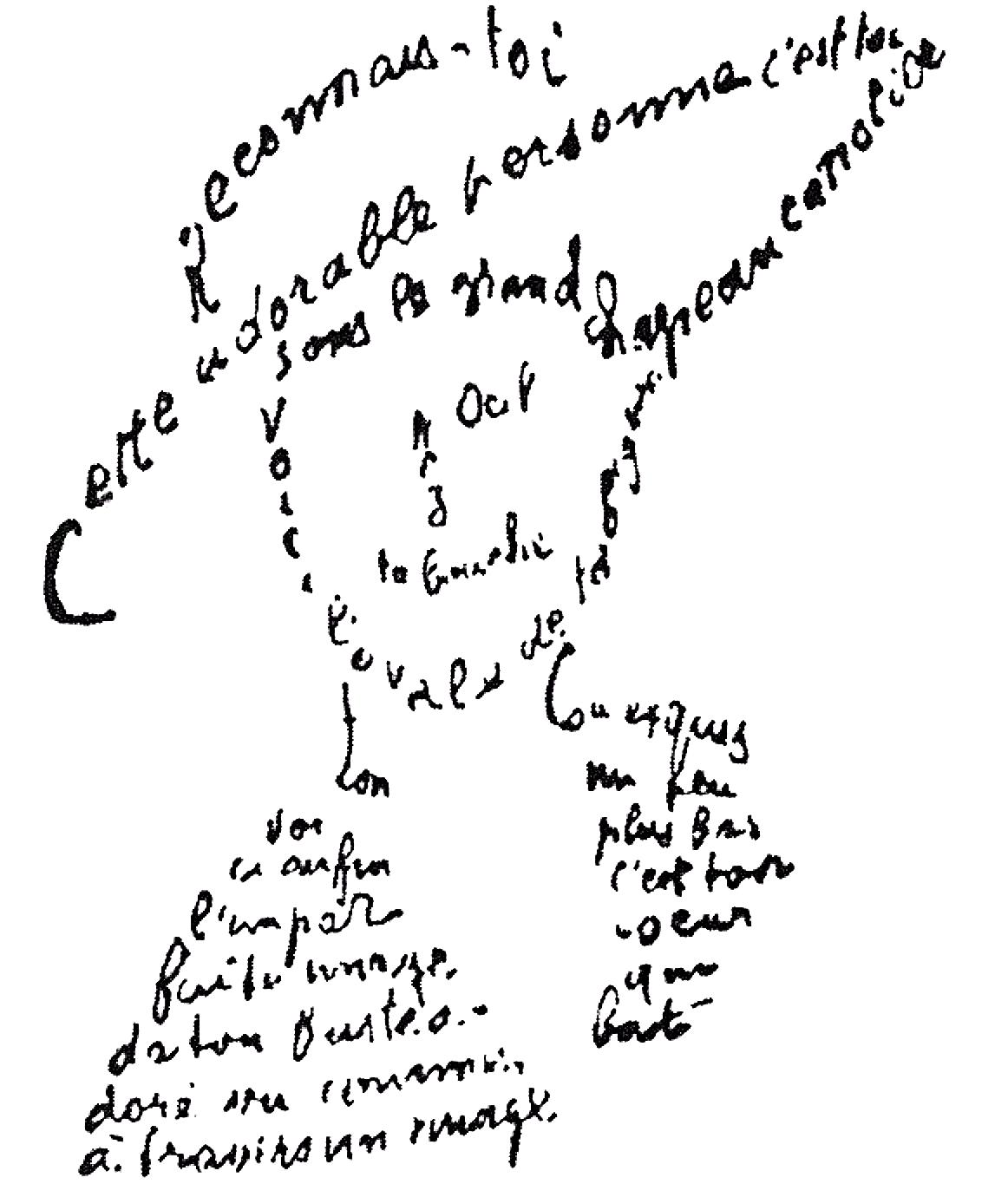 Caligrama y la Poesía visual. Ejemplo de caligrama de Guillaume Apollinaire